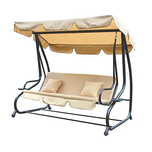 ELEGAN Garden Patio Covered Canopy Awning Porch Swings Bench Chair (Stool Galvanized Garden)
