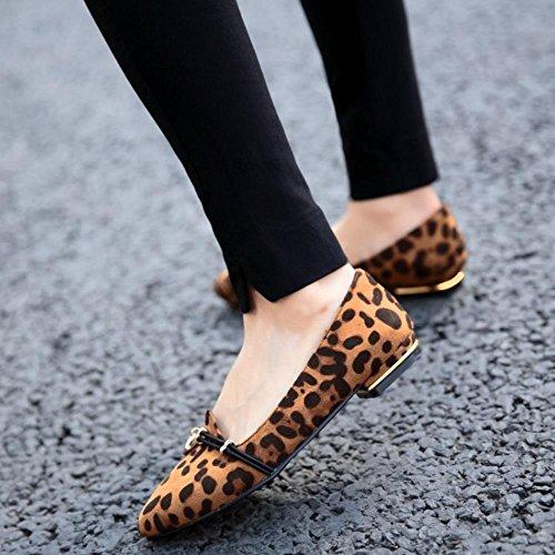 Pumper Komfortabel Størrelser Ballerinaer Coolcept Print Flat Ballett Leopard Khaki Ekstra Mote Kvinner Sko OHOPqnZI
