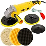 Variable Speed Polisher with a Professional 3 Pad Buffing and Polishing Kit; 2 - 8'' Waffle Foam & 1 - 8'' Wool Grip Pads; Also includes Pad Cleaning Spur