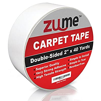 """Double Sided Carpet Tape By Zume (2""""x40 Yards) -Indoor Adhesive Carpet Edge Binding Tape- Removable Carpet, Mat, Rug Tape- Heavy Duty Tape For Any Type Of Floor Or Carpet-No Residue"""