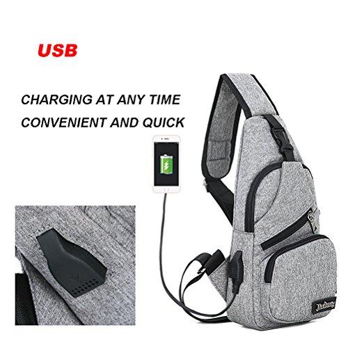 Bag Travel Sling Charging For Port With Purple Chest shoulder Usb Oxford Bag Men Daypack Crossbody Women Lightweight Backpack Hiking aqwprdXxq