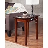 Atlantic Furniture Shaker USB Power Outlets Walnut Wood Side Table