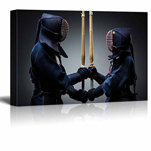 Two Kendo Fighters with Shinai Opposite Each Other Wall Decor ation