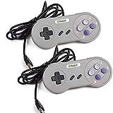 kiwitatá Super Famicom Style Controller, SNES to USB Controller for PC/Mac (Grey/Purple Keys 2Pack)