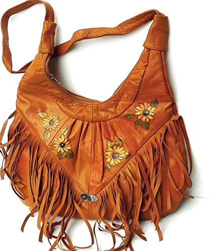 Large Hand Painted Sunflower Tan Leather Boho Fringe Hobo Shoulder Bag Bohemian Handbag for Women