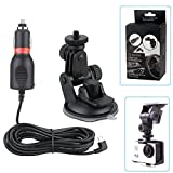 VVHOOY 2 in 1 Action Camera Car Charger Suction Cup Mount for AKASO EK7000 DBPOWER EX5000 Lightdow LD6000 APEMAN Crosstour Campark 4K Camera Accessories