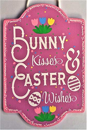 Bunny Kisses & Easter Wishes Sign Wall Art Door Hanger Plaque Spring Decor Home Decor tokomillcrafty