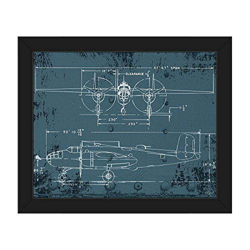 Airplane Blueprint - Distressed Antique Vintage B25 Mitchell Bomber World War 2 WWII Plane Line Art Drawing Wall Art Print on Canvas with Black Frame
