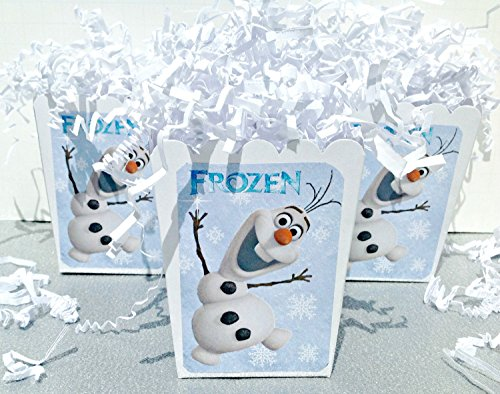 12 - WinterONEderland Frozen Inspired Popcorn Boxes - Snowflake backgrpond with Olaf - Party Packs Available