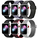 HILIMNY Compatible for Apple Watch Band 42mm, New Nylon Sport Loop, Adjustable Closure Wrist Strap, Replacement Band Compatible for iwatch Series 3 2 1(42mm, 6 Pack)