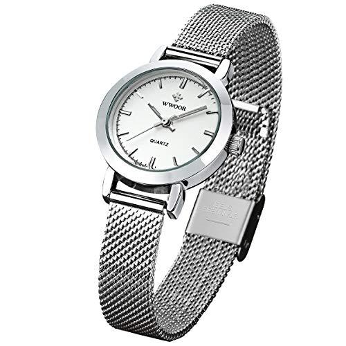 (WWOOR Women's Watch Fashion Analog Quartz Watches with Stainless Steel Mesh Band Waterproof Wristwatch Casual Gift Watch Ladies (White))