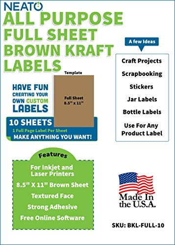 Neato Brown Kraft Full Sheet Printable Labels - for Inkjet and Laser Printers - Online Design Label Studio Included (10 Sheets)