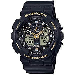 Casio Men's Japanese Quartz Watch with Silicone Strap, Black, 28 (Model: GA-100GBX-1A9)