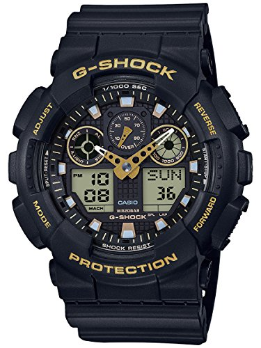 Time G-shock World Watch 200m (Men's Casio G-Shock Analog-Digital Black Strap Watch GA100GBX-1A9)