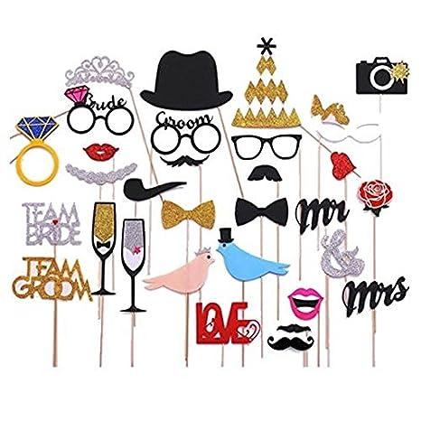 6d0615f9a1 KANKOO Photo Booth Puntelli Matrimonio Compleanno Foto Decorazioni per  Feste Oggetti per Selfie Oggetti per Feste