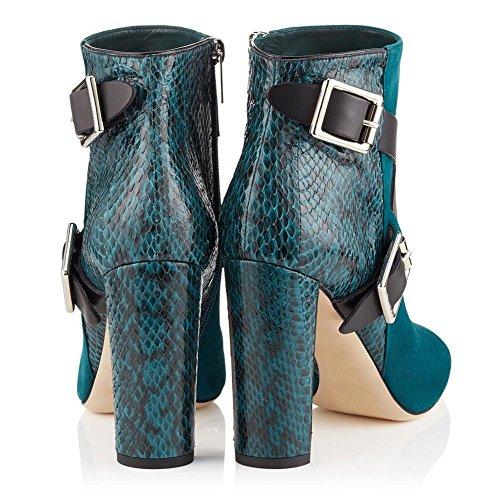 Talón Mujeres Áspero Zapatos Invierno Apuntado Negro Cuero Botas 4 Tobillo 5 Green eur40uk7 Costura Nvxie 3 Correas Botón Cruz Spring Eur Otoño 36 uk Gamuza Metal ndqvTXIttx