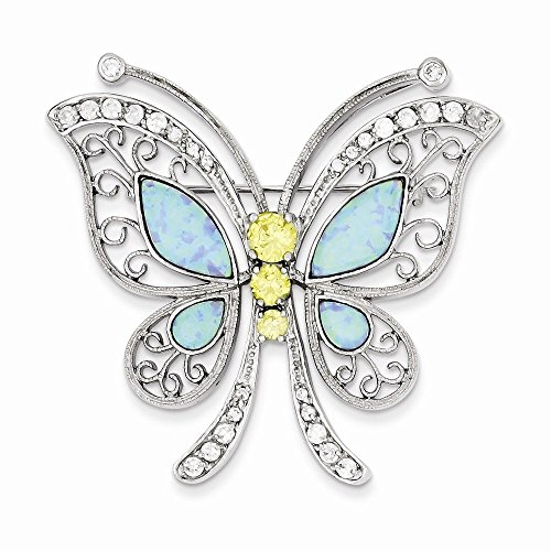 Sterling Silver Blue Opal with Yellow and Clear CZ Butterfly Pin (1.77 in x 1.81 - Two Tone Brooch Butterfly