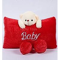 Richy Toys Cute Teddy Pillow Stuffed Soft Plush Soft Toy Kids Birthday (Red)