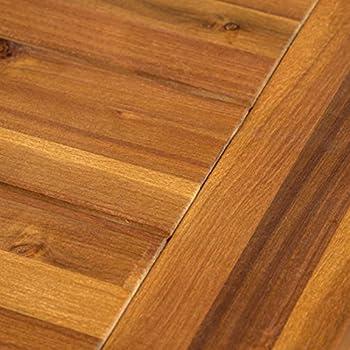 GDF Studio 300496 Colonial Outdoor Sandblack Finish Acacia Wood and Rustic Metal Bench, brown