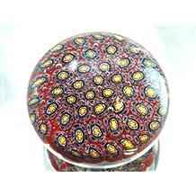 Murano Design Mouth Blown Ruby Mix Millefiori Art Glass Paperweight PW-1102