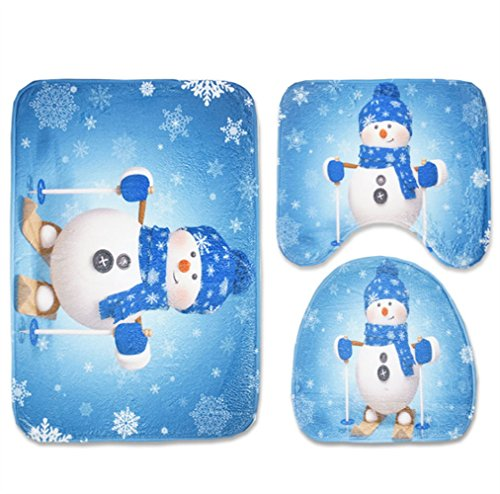 Snowman Bath (Merry Christmas Cartoon Snowman Non Slip Flannel Bathroom Ground Rugs 17.8
