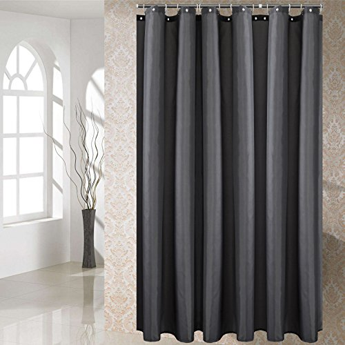 JES/&MEDIS Shower Curtain with Hooks Waterproof Polyester Fabric 72 x 72 inches