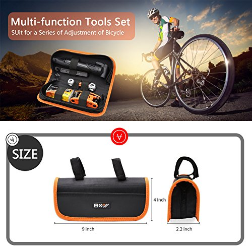 Bicycle Repair Bag & Bicycle Tire Pump, Home Bike Tool Portable Patches Fixes, Fixe, Inflator, Maintenance For Camping Travel Essentials Tool Bag Bike Repair Tool Kit Safety Emergency All In One Tool by XCH Robots (Image #5)