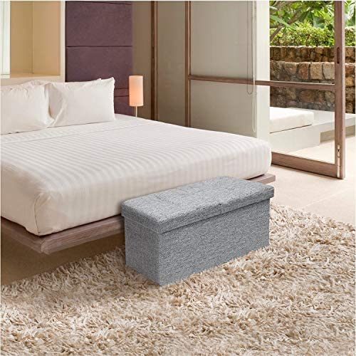 Crown Comfort Storage Ottoman Bench 30 Inch Smart Lift Top, Light Grey –