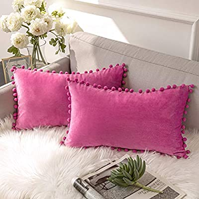 Ashler Throw Pillow Cases with Soft Pom Poms Velvet Plush Vibrant Elegant Cushion Covers, Pack of 2, Pink 12 x 20 inches 30 x 50 cm - Materials: Made of polyester Sizes: 12 x 20 inches / 30 x 50 cm Luxury velvet throw pillow brings the sophisticated accent to your living area - living-room-soft-furnishings, living-room, decorative-pillows - 51Sc HIWDFL. SS400  -