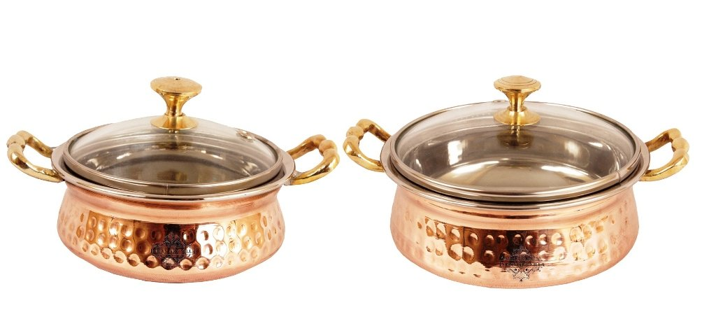 IndianArtVilla Handmade Steel Copper Casserole with Lid Dish Serving Food Curry | 500 ML Royal and Useful | Easy to Carry Casserole Set Indian Art Villa IAVG-CB-1-593