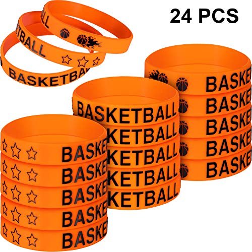 Basketball Theme Party Supplies (Norme 24 Pieces Basketball Silicone Bracelets Boy Rubber Wristbands Basketball Bracelet Party Favors for School Gifts Supplies (24)