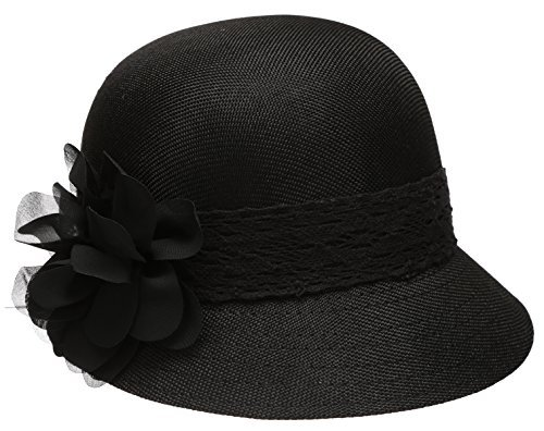 Epoch Women's Gatsby Linen Cloche Hat With Lace Band and Flower - Black by EPOCH