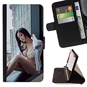 For LG G2 D800 SEXY JAPANESE PIN UP GIRL Beautiful Print Wallet Leather Case Cover With Credit Card Slots And Stand Function