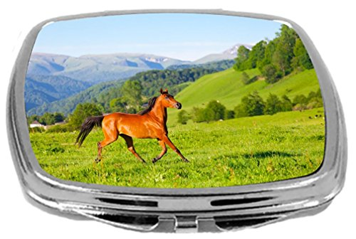 Rikki Knight Arab Racer Horse on Green Meadow Design Compact Mirror, 17 Ounce