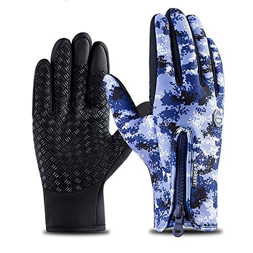 Afdgsjyu Cycling Gloves Men Women Winter Warm Gloves Windproof Waterproof Anti-Slip Touch Screen Gloves Cold Weather Cycling Riding Skiing Gloves Liner Bike Glove
