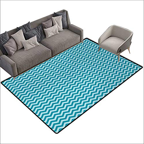 Chevron Indoor Floor mat Zigzags in Sea Colors Ocean Waves Nautical Theme Sailboat Design Sea Breeze 78