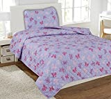 Twin Butterfly Pink Printed Quilt Bedding Bedspread Coverlet Pillow Case 2Pc