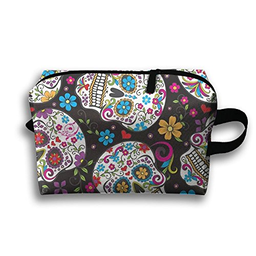 Women's Travel Case Cosmetic Storage Bags Sugar Skulls Colored Makeup Clutch Pouch Organizer Bag Pencil Holder ()