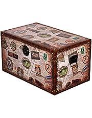 Skrzynia SJ 15325 o wyglądzie walizki podróżnej, drewniana skrzynia w stylu vintage, podróż, podróż światowa, skrzynia skarbów, skrzynia, piracka, morska dekoracja kolonialna, drewniane pudełko (rozmiar XXL 69 cm szer. x 43 cm wys. x 41 cm gł.)