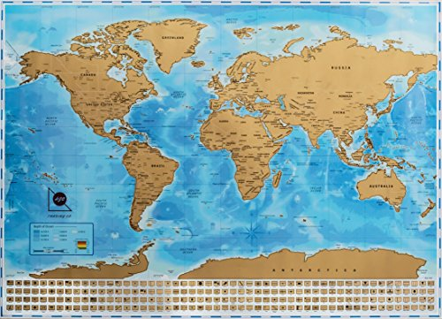 Scratch Off World Map - Detailed And Accurate Cartography - Great Gift For Travelers - 32.9 x (Accurate Map)
