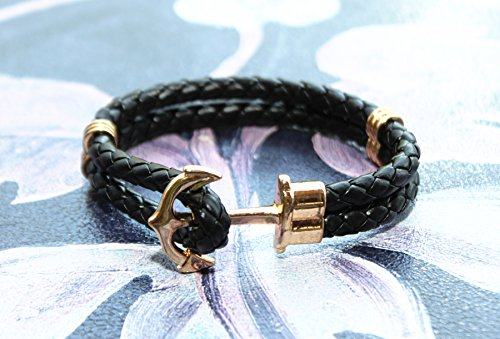 Happiness Jewelry Unisex PU Leather Bracelet With Anchor Alloy Clasp 8.6 Inches Length
