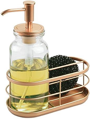 mDesign Dispensador de jabon liquido o lavavajillas con porta ...