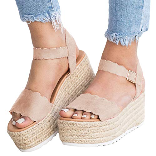 (Syktkmx Womens Platform Strappy Sandals Low Wedge Heeled Ankle Strap Summer Espadrilles (9 M US,)