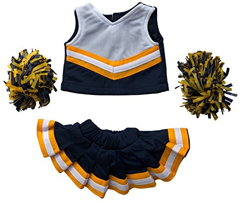 Navy Bear Teddy (Cheerleader Outfit Teddy Bear Clothes Fit 15 inch Build-A-Bear, Vermont Teddy Bears, American Girl Doll and Make Your Own Stuffed Animals (Navy And Gold))
