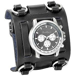 Reloj de pulsera negro de JewelryWe, de estilo gótico, punky o hip-hop para hombre, correa de cuero ancha de moda: Amazon.es: Relojes