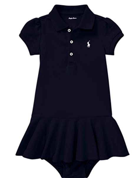 3f8cd8f84 Ralph Lauren Genuine Classic Baby Girls Polo Dress Bloomer Set 6 mths  French Navy: Amazon.co.uk: Clothing