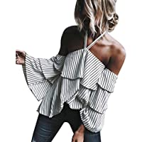 Hot ! Women Blouse, Ninasill Exclusive Hanging Neck Off Shoulder Ladies Casual Striped T Shirt Tops Blouse (S, White)