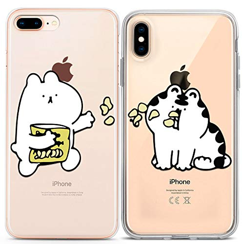 Lex Altern Couple Matching iPhone Case Xs Max X Xr 10 8 Plus 7 6s 6 SE 5s 5 TPU Cute Cat Phone Cover Adorable Clear Gift White Silicone Anniversary Kawaii Women Animal Protective Food Soft Flexible