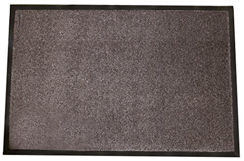 (Durable Wipe-N-Walk Vinyl Backed Indoor Carpet Entrance Mat, 3' x 5', Brown)