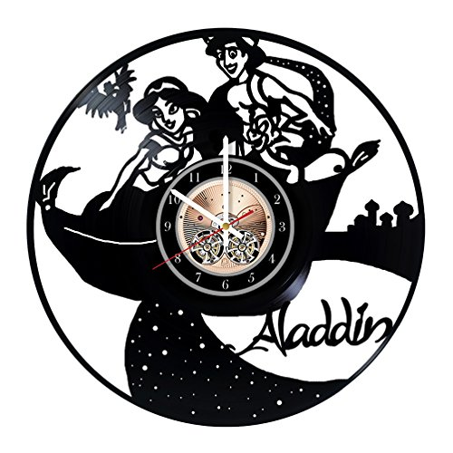 Aladdin and Princess Jasmine Design Art Vinyl Record Wall Clock 12